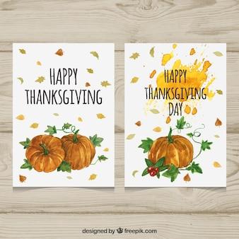 Carte di ringraziamento di zucca graziose di acquerello