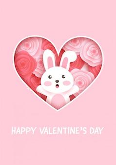 Carte di san valentino con coniglio carino e rose.