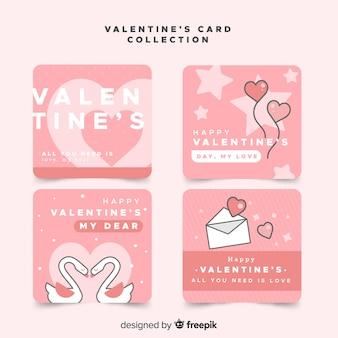 Carte di san valentino piatto