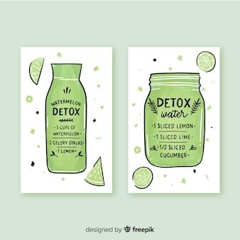 Carte di succo di frutta acquerello detox
