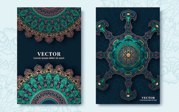 Carte ornati d'epoca in stile orientale