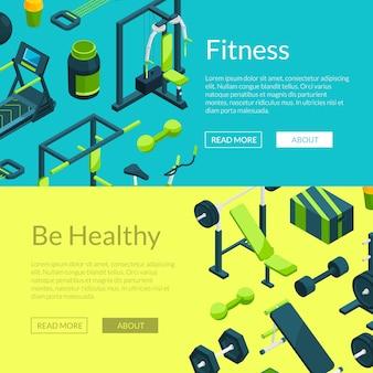 Carte per fitness e power club. modello di banner palestra isometrica di vettore