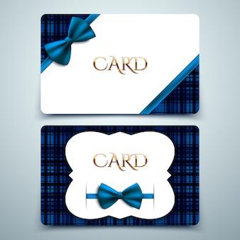 Carte regalo vettoriali, stampa tartan blu e fiocco decorativo