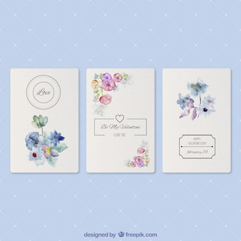 Carte romantica con fiori ad acquerello