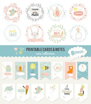Carte romantiche e d'amore, note, adesivi, etichette, cartellini con illustrazioni di primavera. modello per scrapbooking, confezionamento, congratulazioni, inviti. auguri con simpatici animali, fiori e dolci