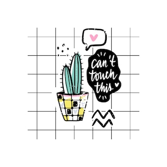 Carte vettoriali con cactus e frase positiva.