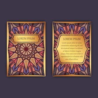 Carte vintage con motivo floreale mandala e ornamenti.