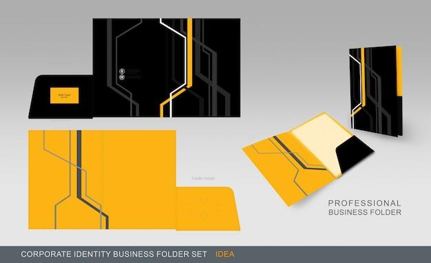 Cartella gialla e nera di affari