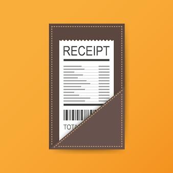 Cartella in pelle per contanti, monete e assegno circolare.