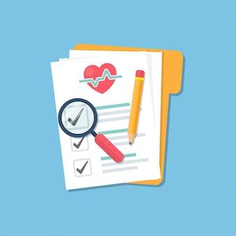 Cartella medica con lista di controllo del documento, ingrandimento di vetro e matita in uno stile piatto