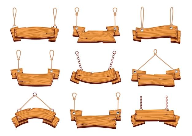 Cartelli in legno appesi. insegne in legno vuote striscioni con corde, tabellone per le affissioni vintage con trama di compensato cartone animato appendere cartellone pubblicitario impostato