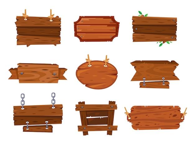 Cartelli in legno cartone animato segni e striscioni in legno marrone.