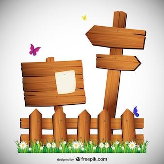 Cartelli in legno con le farfalle