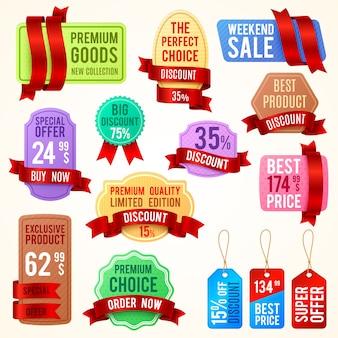 Cartellini dei prezzi di vendita e sconto, banner a nastro con testo promozionale. il vettore di distintivi di promozione ha stabilito il migliore prezzo ed il prodotto esclusivo, l'illustrazione dell'etichetta di offerta speciale