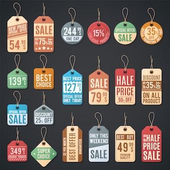 Cartellini dei prezzi e etichette di vendita con filo. carta dello sconto di acquisto al dettaglio sulla corda, illustrazione differente di promozione del distintivo