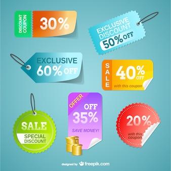 Cartellini dei prezzi insieme vettoriale libero