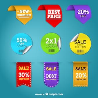 Cartellini dei prezzi Promozione insieme vettoriale