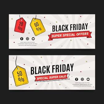 Cartellini dei prezzi venerdì nero banner disegnati a mano