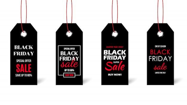 Cartellini del prezzo di vendita del venerdì nero.