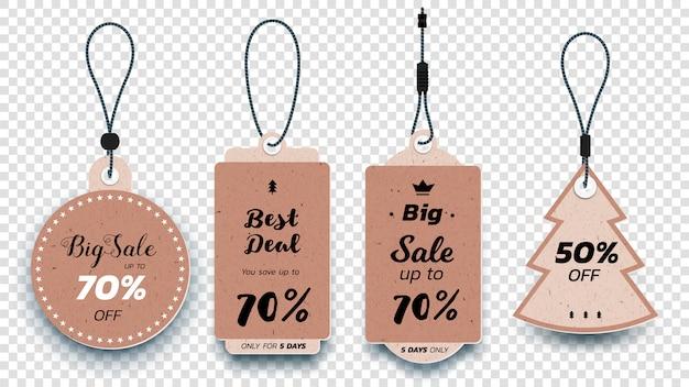 Cartellini realistici che appendono le etichette di vendita. set di etichette di vendita di carta isolato.
