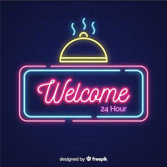 Cartello di benvenuto moderno con stile luce al neon