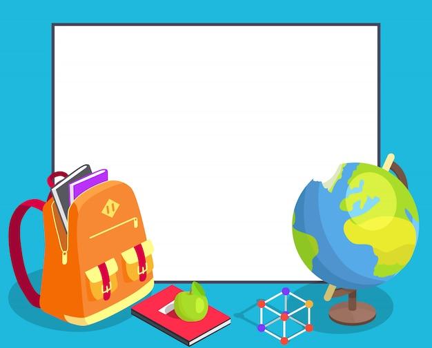 Cartello di ritorno a scuola con copyspace e libro del globo geografico