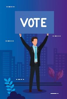 Cartello di uomo d'affari e protesta con votazione