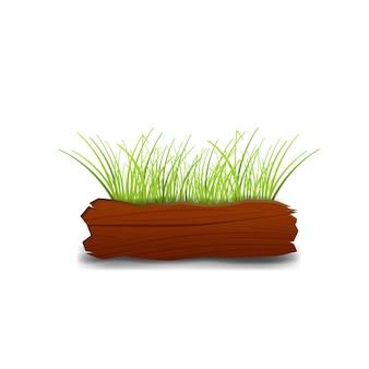 Cartello in legno con erba isolata