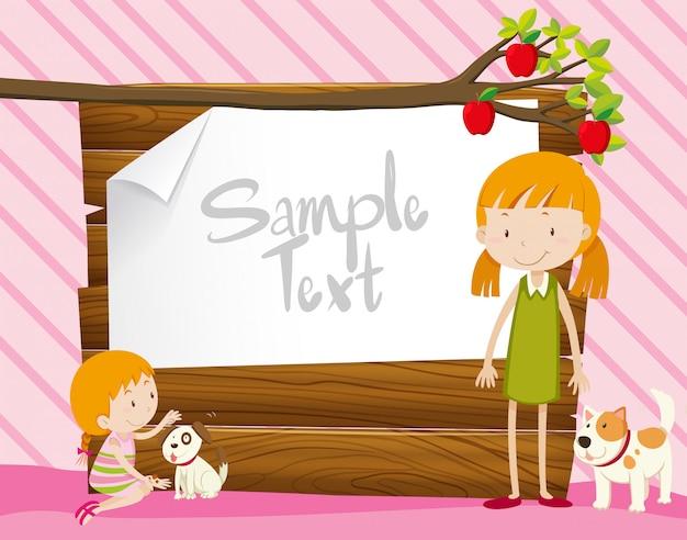 Cartello in legno con ragazze e cani
