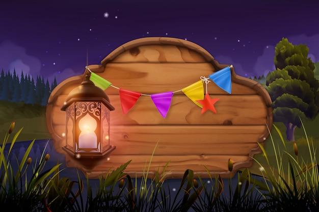 Cartello in legno e lampada, festa notturna. paesaggio naturale