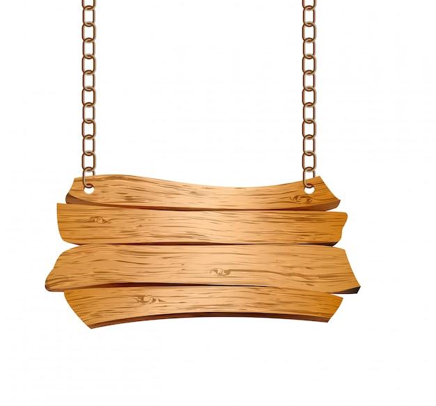 Cartello in legno sospeso su catene