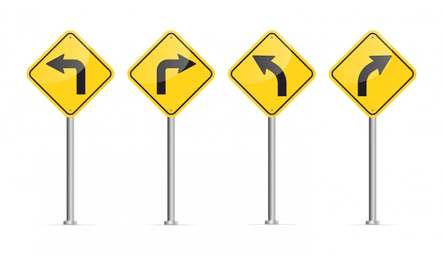 Cartello stradale curvo