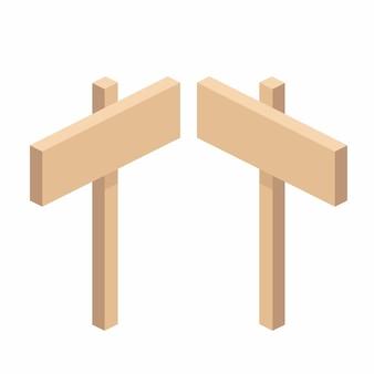 Cartello stradale in legno su un supporto in isometrica