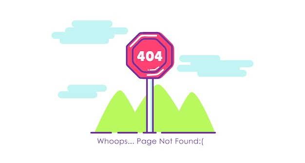 Cartello stradale pagina 404 non trovato. illustrazione piatta