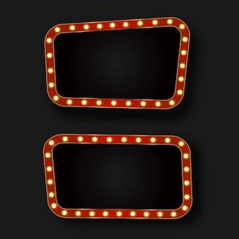 Cartelloni pubblicitari al neon retrò realistici sullo sfondo scuro. modello per decorazione vintage e cartello.