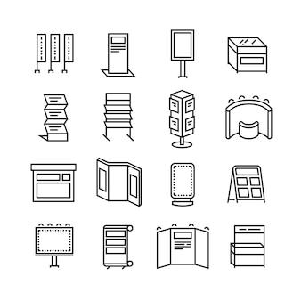 Cartelloni pubblicitari e display banner, stand espositivi per set di icone linea fiera