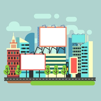 Cartelloni pubblicitari urbani vuoti in città piatta