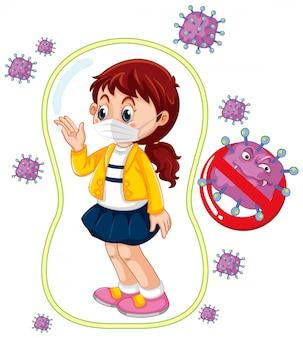 Cartellonistica coronavirus con maschera da portare ragazza
