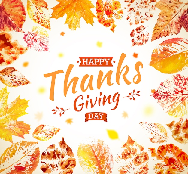 Cartellonistica del giorno del ringraziamento. biglietto di auguri autunnale. caduta foglie colorate dipinte ad acquerello con scritte happy thanksgiving day. disegnato a mano fogliame dipinto di acero, quercia, pioppo tremulo.
