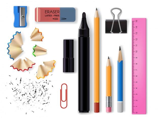 Cartoleria o forniture realistiche per ufficio e scuola