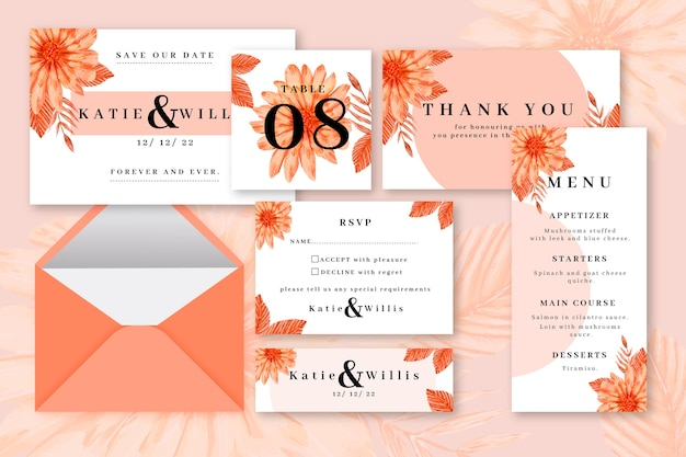 Cartoleria per matrimonio color arancio