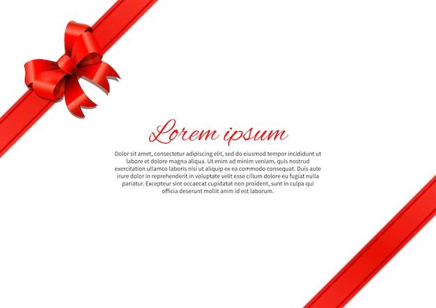 Cartolina bianca con fiocco rosso e modello di testo