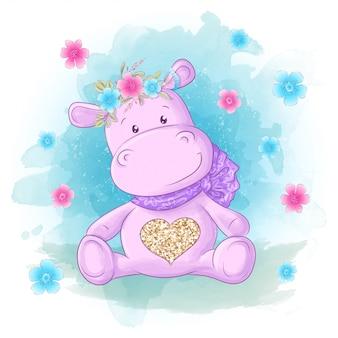 Cartolina carino, ippopotamo, fiori e farfalle stile cartone animato.