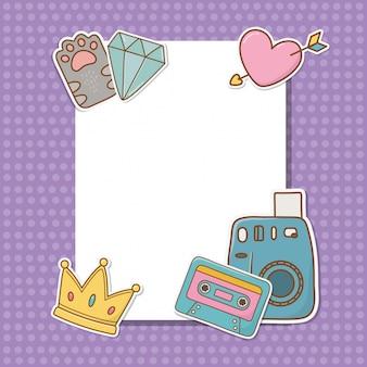 Cartolina con adesivi kawaii