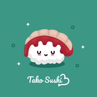 Cartolina con l'illustrazione del carattere di tako sushi