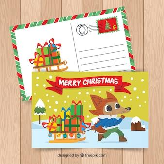 Cartolina con simpatico animale natalizio