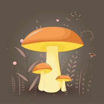 Cartolina con suillus di funghi su uno sfondo floreale con rami e piante.