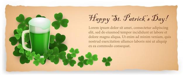 Cartolina creativa di happy saint patricks day beige