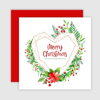 Cartolina d'auguri di Natale dell'acquerello con cornice