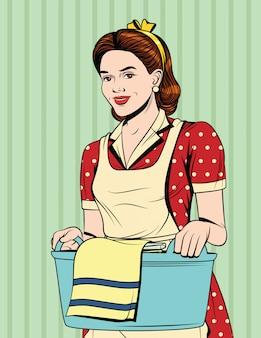 Cartolina d'annata con la ragazza in grembiule che fa lavori domestici